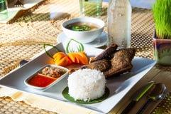 Ρύζι και roast πάπια και σούπα Στοκ Φωτογραφία