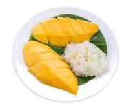 ρύζι μάγκο κολλώδες Ταϊλανδικό επιδόρπιο ύφους, μάγκο με το κολλώδες ρύζι Στοκ φωτογραφία με δικαίωμα ελεύθερης χρήσης