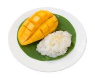ρύζι μάγκο κολλώδες Ταϊλανδικό επιδόρπιο ύφους, μάγκο με το κολλώδες ρύζι Στοκ Εικόνες