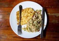 Ρύζι με τα λαχανικά και την μπριζόλα Στοκ Εικόνες