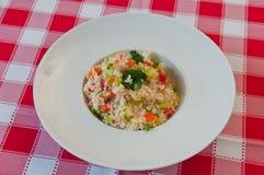 Ρύζι με τα λαχανικά και το μπρόκολο στοκ εικόνα
