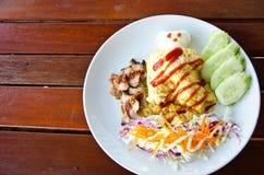 Ρύζι με την ομελέτα στοκ φωτογραφία με δικαίωμα ελεύθερης χρήσης