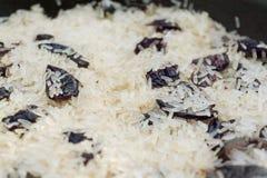 Ρύζι με τη στενή, εκλεκτική εστίαση δαμάσκηνων Στοκ Εικόνες