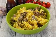 Ρύζι με τις καρδιές κοτόπουλου στοκ φωτογραφία