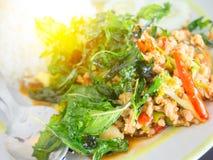 Ρύζι με το χοιρινό κρέας και το βασιλικό Στοκ εικόνα με δικαίωμα ελεύθερης χρήσης