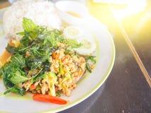 Ρύζι με το χοιρινό κρέας και το βασιλικό Στοκ Φωτογραφίες