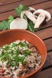 Ρύζι με Champignon το μανιτάρι Στοκ Φωτογραφίες
