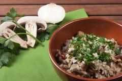 Ρύζι με Champignon το μανιτάρι Στοκ φωτογραφία με δικαίωμα ελεύθερης χρήσης