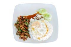 Ρύζι που ολοκληρώνεται με το ανακατώνω-τηγανισμένους χοιρινό κρέας και το βασιλικό με το τηγανισμένο αυγό ηλιόλουστο Στοκ εικόνα με δικαίωμα ελεύθερης χρήσης