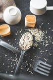 Ρύζι στην κουτάλα Στοκ Εικόνα