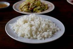Ρύζι της Jasmine που μαγειρεύεται σε ένα φλυτζάνι Στοκ Εικόνες