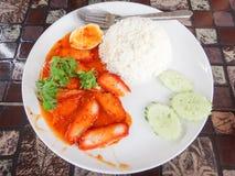 Ρύζι - ψημένο στη σχάρα κόκκινο χοιρινό κρέας Στοκ Εικόνες