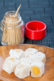Ρύζι Glutenous που γεμίζουν με την κόλλα κρέμας mongo Στοκ Εικόνες