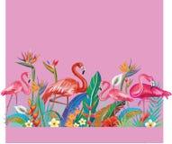 Ρύθμιση από τα λουλούδια και Flamingoes Στοκ Φωτογραφία