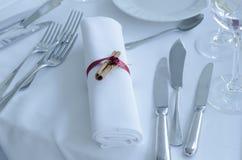 Ρύθμιση γαμήλιων πινάκων Στοκ Φωτογραφίες