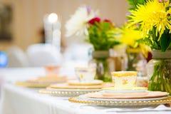Ρύθμιση γαμήλιων πινάκων Στοκ εικόνες με δικαίωμα ελεύθερης χρήσης