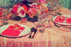 Ρύθμιση για το γαμήλιο γεύμα κόμμα-15 Στοκ Εικόνα