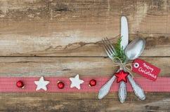 Ρύθμιση επιτραπέζιων θέσεων Χριστουγέννων Στοκ Εικόνες