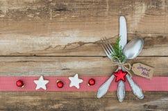 Ρύθμιση επιτραπέζιων θέσεων Χριστουγέννων Στοκ φωτογραφίες με δικαίωμα ελεύθερης χρήσης