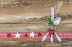 Ρύθμιση επιτραπέζιων θέσεων Χριστουγέννων Στοκ εικόνες με δικαίωμα ελεύθερης χρήσης