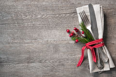 Ρύθμιση επιτραπέζιων θέσεων Χριστουγέννων Στοκ Εικόνα