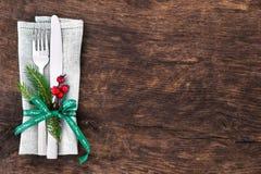 Ρύθμιση επιτραπέζιων θέσεων Χριστουγέννων Στοκ Φωτογραφία