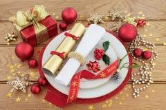 Ρύθμιση θέσεων γευμάτων Χριστουγέννων Στοκ εικόνα με δικαίωμα ελεύθερης χρήσης