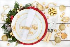 Ρύθμιση θέσεων γευμάτων Χριστουγέννων Στοκ Εικόνες