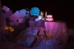 Ρύθμιση διακοσμήσεων γαμήλιων πινάκων Στοκ Εικόνες