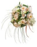 Ρύθμιση λουλουδιών των λουλουδιών και των ορχιδεών peon που απομονώνονται στο λευκό Στοκ Εικόνα
