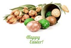 Ρύθμιση Πάσχας με τα αυγά και τις τουλίπες, τίτλος Στοκ εικόνες με δικαίωμα ελεύθερης χρήσης