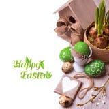 Ρύθμιση Πάσχας με τις τουλίπες και τα αυγά Στοκ Εικόνες