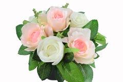 Ρύθμιση τεχνητών λουλουδιών διακοσμήσεων που απομονώνεται στο άσπρο υπόβαθρο Στοκ Εικόνες