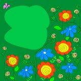 Ρύθμιση των wildflowers σε ένα πράσινο υπόβαθρο Στοκ Εικόνες