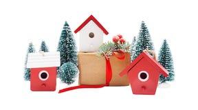 Ρύθμιση Χριστουγέννων που απομονώνεται στο λευκό Στοκ εικόνα με δικαίωμα ελεύθερης χρήσης