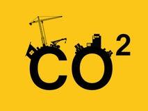 Ρύπανση του CO2 που διευκρινίζεται στο κείμενο με το sillhouette polluction πόλεων Στοκ εικόνες με δικαίωμα ελεύθερης χρήσης
