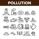 Ρύπανση των διανυσματικών λεπτών εικονιδίων γραμμών περιβάλλοντος καθορισμένων διανυσματική απεικόνιση