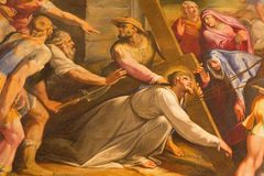 Ρώμη - η λεπτομέρεια του χρώματος Χριστός μειώνεται κάτω από το σταυρό στην εκκλησία Chiesa del Jesu από Gaspare Celio (1571 - 16 Στοκ Φωτογραφίες