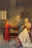 Ρώμη - η ζωγραφική της ιερής οικογένειας από το Angelo Zoffoli (1860-1910) στο μπαρόκ Al Corso Santi Ambrogio ε Carlo dei βασιλικ Στοκ Φωτογραφία