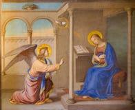 Ρώμη - η Annunciation νωπογραφία από το Joseph Erns Tunner (1830) στο dei Monti Trinita della Chiesa εκκλησιών Στοκ Εικόνες