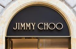 Ρώμη, Ιταλία - 13 Μαΐου 2018: Λογότυπο του Jimmy Choo στο κατάστημα εμπορικών σημάτων ` s στη Ρώμη Στοκ εικόνες με δικαίωμα ελεύθερης χρήσης