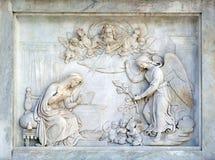 Ρώμη, Ιταλία - 2 Σεπτεμβρίου: Annunciation της Virgin Mary στη στήλη της αμόλυντης σύλληψης στην πλατεία Mignanelli Στοκ Εικόνα