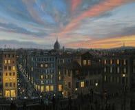 Ρώμη λαμβάνοντας υπόψη το ηλιοβασίλεμα Στοκ Φωτογραφία