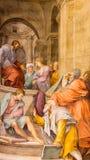 Ρώμη - σημάδι του ST η νωπογραφία Ευαγγελιστών στην κοιλάδα Anima της Σάντα Μαρία εκκλησιών Στοκ Εικόνες