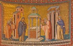 Ρώμη - το μωσαϊκό της παρουσίασης στο ναό στη Σάντα Μαρία στη βασιλική Trastevere του Pietro Cavallini από το έτος 1291 Στοκ εικόνα με δικαίωμα ελεύθερης χρήσης