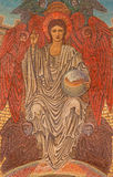 Ρώμη - το μωσαϊκό του νέου Ιησούς Χριστού το Pentokrator ν κύριο apse του dentro LE Mura εκκλησιών αγγλικανών Chiesa Di SAN Paolo Στοκ Φωτογραφία