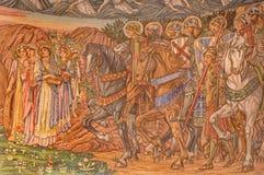 Ρώμη - το μωσαϊκό των Αγίων από το Edward burne-Τζόουνς - dentro LE Mura εκκλησιών Chiesa Di SAN Paolo Στοκ Εικόνα