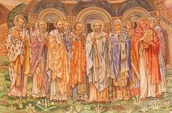 Ρώμη - το μωσαϊκό των μεγάλων δασκάλων Αγίων της καθολικής εκκλησίας κύριο apse του dentro LE Mura εκκλησιών αγγλικανών Chiesa Di Στοκ Φωτογραφίες
