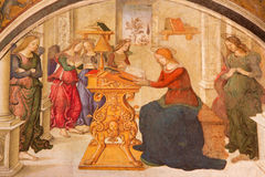 Ρώμη - Annunciation από τον αρωγό Aiuto del Pinturicchio στο παρεκκλησι Rovere della Basso στο Di Σάντα Μαρία βασιλικών εκκλησιών Στοκ φωτογραφία με δικαίωμα ελεύθερης χρήσης
