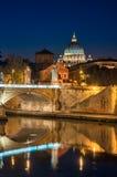 Ρώμη, ST Peter, τοπίο νύχτας. Στοκ Εικόνες